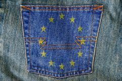 Jeans back pocket on pattern flag Stock Photography
