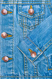 Jeans background. Blue denim jacket background close-up. The front side Stock Photo