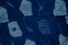Jeans background , denim patchwork . Jeans background , blue denim patchwork Stock Photos