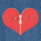 Jeans background and hearts with zipper Stock Photos
