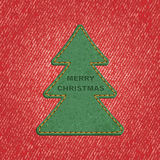Jeans background leather Christmas tree. Vector Royalty Free Stock Photos
