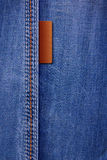 Jeans. Background with leather inserts Stock Photography