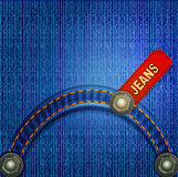Jeans background with red label. Vector background with red denim label stitching and rivets Stock Photos