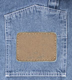 Jeans background texture with leather label. Blue jeans background texture with leather label royalty free illustration