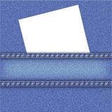 Jeans background with white note paper. Royalty Free Stock Images