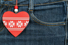 Jeans background with wooden heart.Valentine's day. Stock Photography