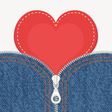 Jeans background with zipper and heart Royalty Free Stock Image