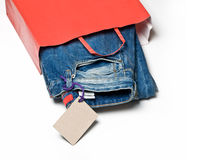 Jeans in the bag Stock Photo