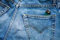 Jeans bag with green zippo Stock Image