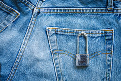 Jeans bag with padlock Stock Images