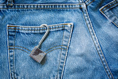 Jeans bag with padlock Royalty Free Stock Images