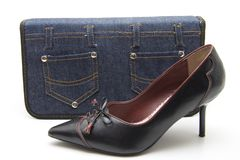 Jeans bag with shoe Royalty Free Stock Photo