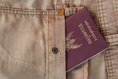 Jeans bag with Thailand passport. The Thailand passport in the jeans bag ready for trave royalty free stock image