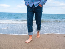 Jeans on a beach Royalty Free Stock Photos