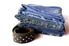 Jeans and belt. Blue jeans and brown belt Royalty Free Stock Image