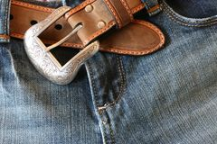 Jeans with a belt Royalty Free Stock Photo