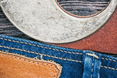 Jeans and belt background Royalty Free Stock Photo