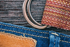 Jeans and belt background Stock Photo