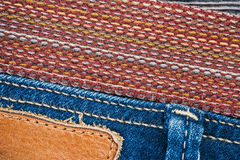 Jeans and belt background Royalty Free Stock Images