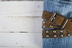 Jeans in a belt Stock Photo