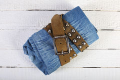 Jeans in a belt 3 Royalty Free Stock Images