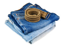 Jeans and belt Stock Photos
