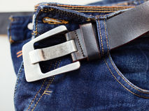 Jeans with belt Stock Photos