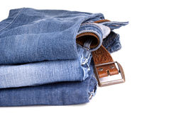 Jeans and Belt Isolated Stock Photos