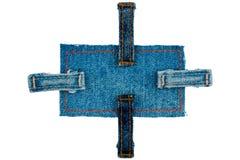 Jeans beschriften mit vier Bügeln Getrennt Lizenzfreie Stockfotos