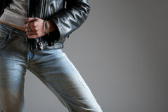 Jeans and black leather Stock Photo