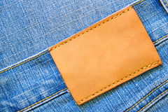 Jeans with blank label royalty free stock photo