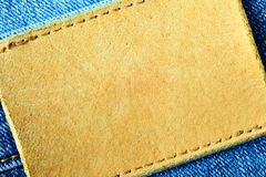 Jeans with blank leather labe Stock Image