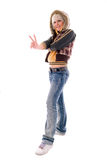 Jeans Blonde Girl. Stock Photo