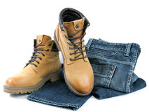 Jeans and boot warmer for men Stock Photo