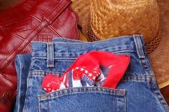 Jeans Boots & Hat. Denim, Jeans Boots & Cowboy Hat and kerchief stock photos
