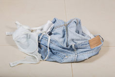 Jeans and bra Royalty Free Stock Photography