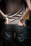 Jeans and bracelets Royalty Free Stock Photos