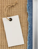 Jeans and burlap hessian  background Stock Image