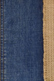 Jeans and of burlap hessian  background Royalty Free Stock Images