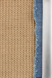 Jeans and burlap hessian  background Stock Images