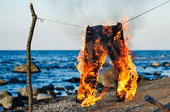 Jeans burning Royalty Free Stock Photos