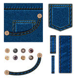 Jeans and buttons.  illustration set. Blue denim background with pocket, metal snaps collection and texture border elements. Isolated over white Royalty Free Stock Photos