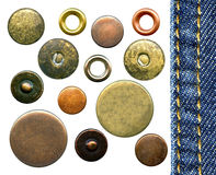 Jeans' buttons and rivets Stock Image