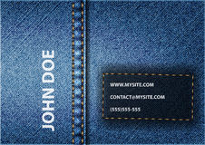 Jeans Card. Vector background of blue jeans card Stock Photos