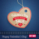 Jeans Carton Heart Valentines Day Sale Pink Label Royalty Free Stock Image