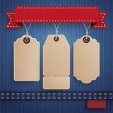 Jeans 3 Carton Price Stickers Ribbon Stock Image