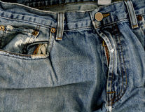 Jeans casella & chiusura lampo Fotografie Stock Libere da Diritti