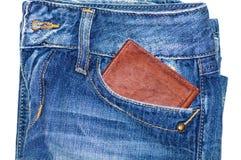 Jeans casella e raccoglitore Fotografie Stock Libere da Diritti