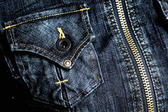 Jeans, casella, tasto e chiusura lampo Immagini Stock Libere da Diritti