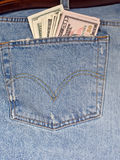 Jeans with cash Royalty Free Stock Photography